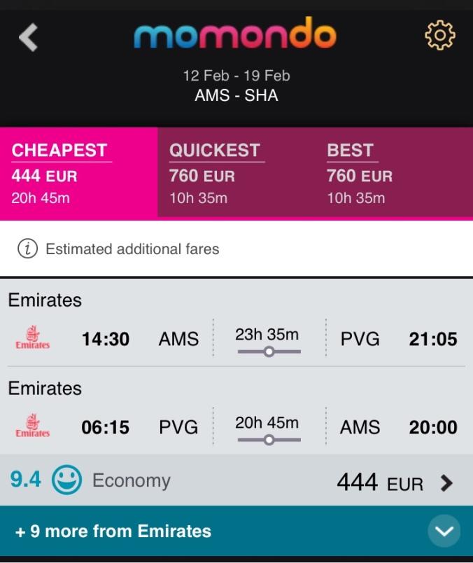 Amsterdam Shanghai flight for Chinese New Year