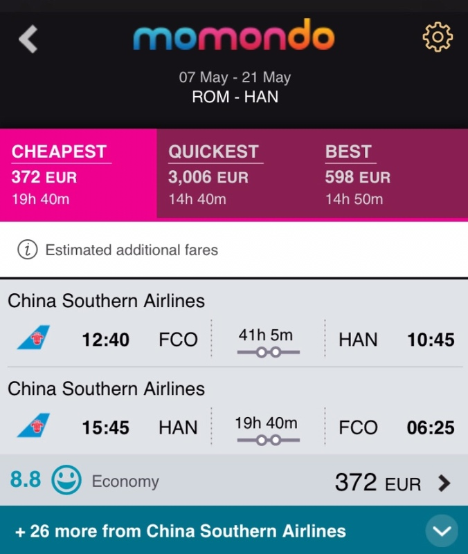 Rome Hanoi flight
