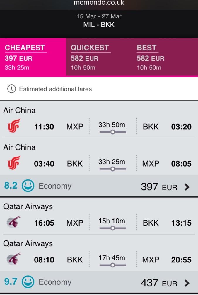Milan Bangkok flight deal