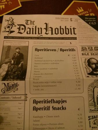 The Hobbit Brugges menu