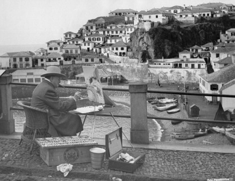 Winston Churchill painting the village of Camara de Lobos Madeira. He is staying at Reids Hotel famed Funchal hostelry January 1st 1950